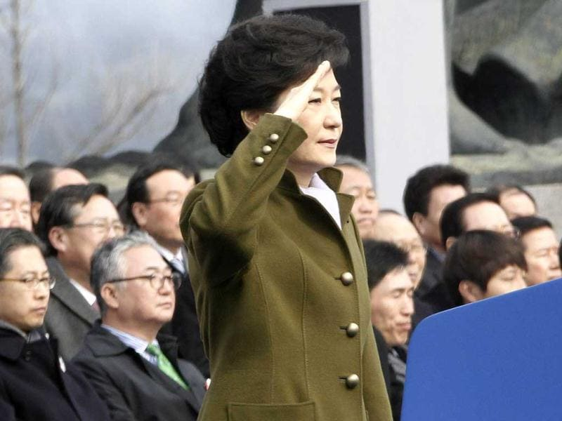South Korean President Park salutes during her inauguration ceremony as the 18th South Korean President at the National Assembly in Seoul. (Reuters)