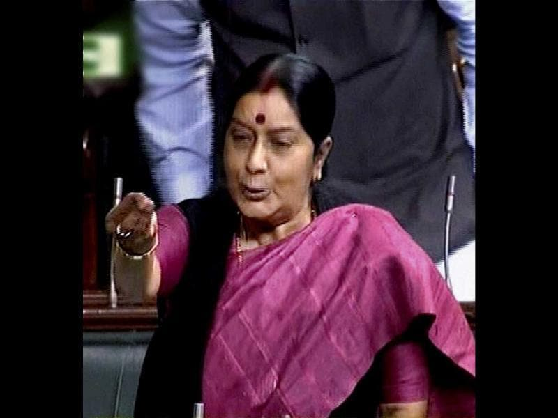 Leader of opposition Sushma Swaraj during the presentation of the Rail Budget 2013-14 by Union railways minister Pawan Kumar Bansal, in the Lok Sabha in New Delh. PTI Photo