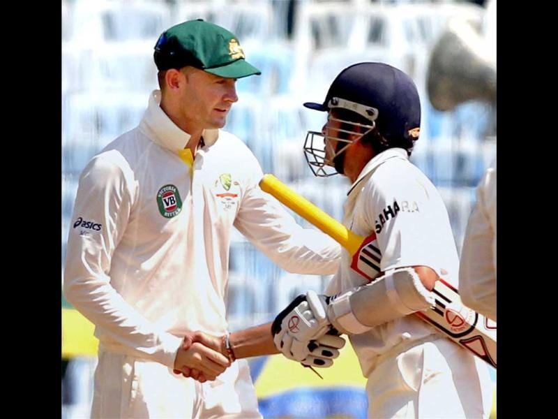 Sachin Tendulkar is greeted by Australian skipper Michael Clarke after the end of the first Test match at MA Chidambaram Stadium in Chennai . PTI Photo