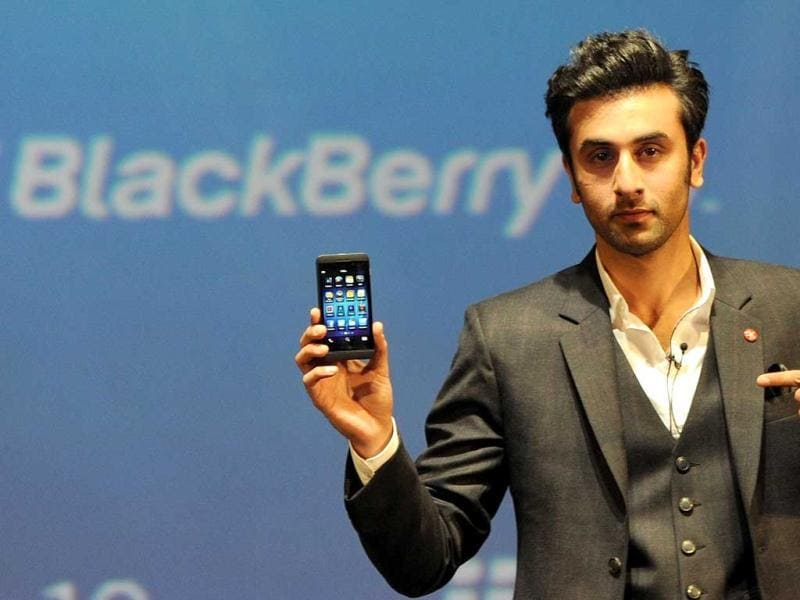 Ranbir Kapoor poses with the BlackBerry Z10 at its country launch in Mumbai on Monday. The Canada-based company is touting Z10 as the elegant, fastest and most advanced BlackBerry smartphone yet. (AFP Photo)