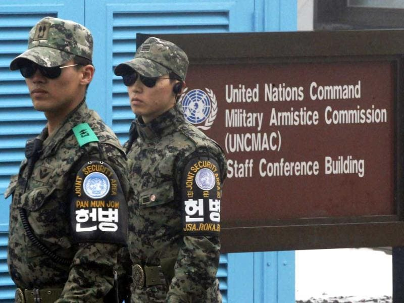 South Korean soldiers stand guard at the border village of Panmunjom in the demilitarized zone (DMZ) that separates the two Koreas since the Korean War, South Korea. North Korea tested a nuclear device in defiance of UN orders to stop building atomic weapons. AP Photo