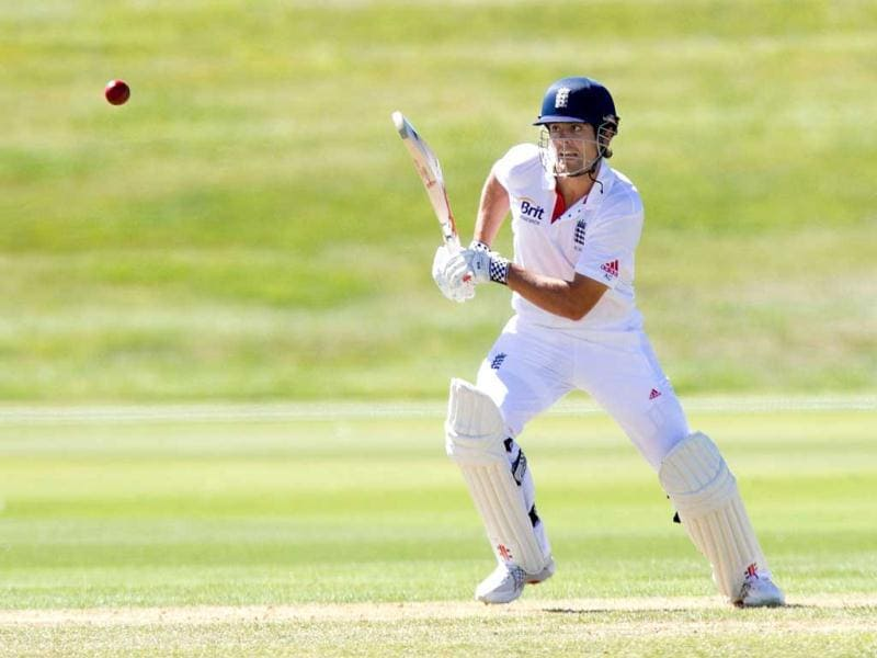 England's captain Alastair Cook bats during day one of the four day warm up international cricket match between New Zealand and England played at the Queenstown Event Center in Queenstown. AFP photo