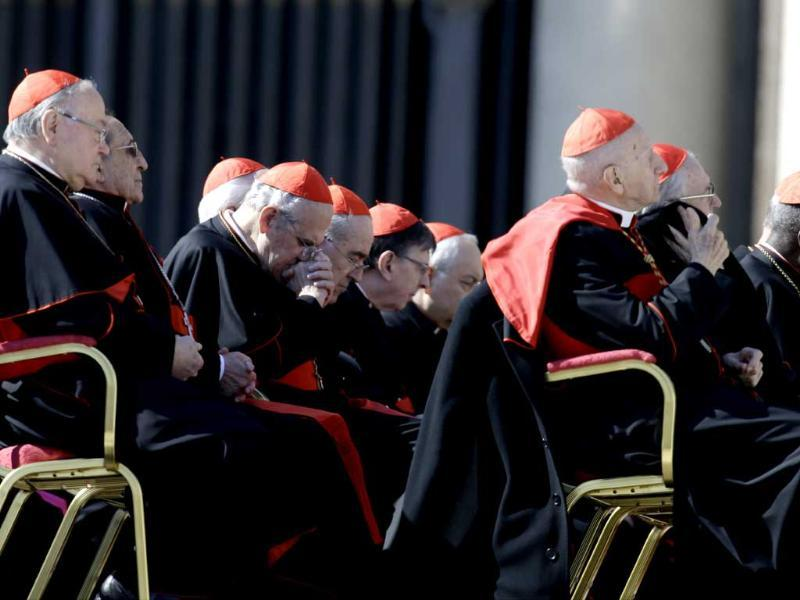 Cardinals attend pope's general audience in St Peter's Square at the Vatican. A total of 115