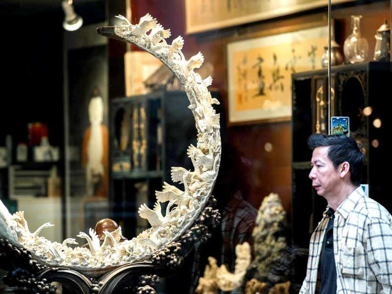 A pedestrian walks past a shop window displaying a carved ivory tusk in Hong Kong. Surging demand for ivory and rhino horn in Asia is behind an ever-mounting death toll of African elephants and rhinos, conservationists say, as authorities fail to rein in hugely lucrative international smuggling networks. AFP photo