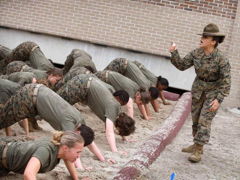 Women attend marine boot camp at Parris Island, South Carolina. AFP photo