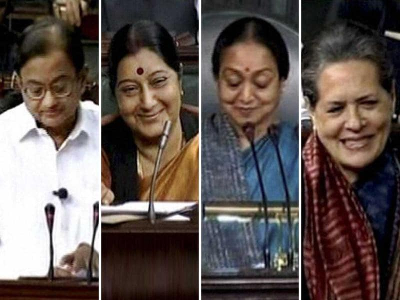 Union finance minister P Chidambaram, opposition leader Sushma Swaraj, speaker Meira Kumar and UPA chief Sonia Gandhi during the presentation the Union Budget 2013-14 in the Lok Sabha. PTI Photo