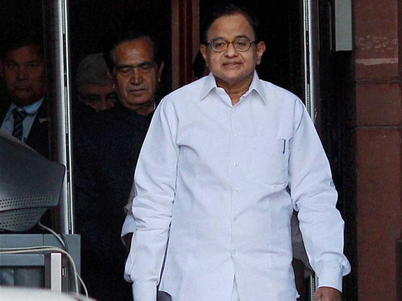 Union finance minister P Chidambaram at his office before leaving for Parliament House to present the Annual Budget 2013-14. PTI Photo
