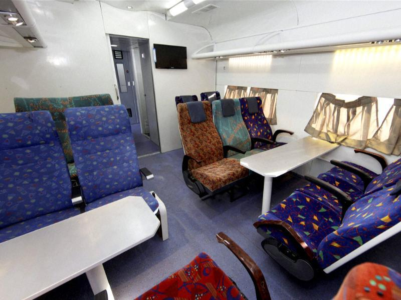 Seats inside the Anubhuti coach are seen at a railway coach care centre in New Delhi. Railways has proposed to introduce the coach in Shatabdi and Rajdhani trains phase-wise. PTI/Vijay Verma