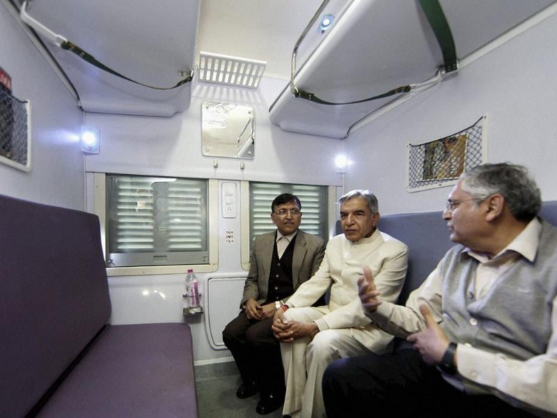 Bansal and Railway Board chairman Vinay Mittal are inside one of the Anubhuti coaches. Anubhuti will be equipped with 50 ergonomically designed cushioned seats and with provisions of LCD video screens. PTI/Vijay Verma