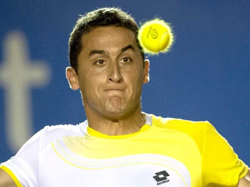 Nicolas Almagro of Spain hits a return to Horacio Zeballos of Argentina during their quarter final Mexico ATP Open men's single tennis match, in Acapulco, Guerrero state. AFP