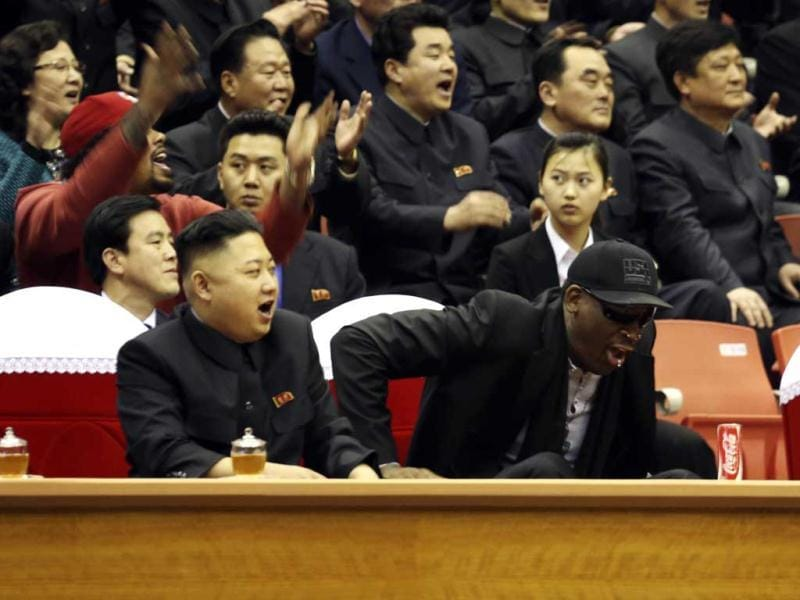 North Korean leader Kim Jong-un and former NBA star Dennis Rodman watch an exhibition basketball game in Pyongyang, North Korea. Reuters