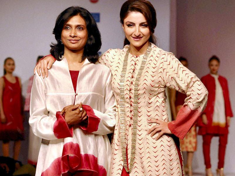 Bollywood actress Soha Ali Khan with designer Sunita Shankar during the inaugural day of North East Fashion Fest 2013 in Guwahati on Friday. PTI Photo