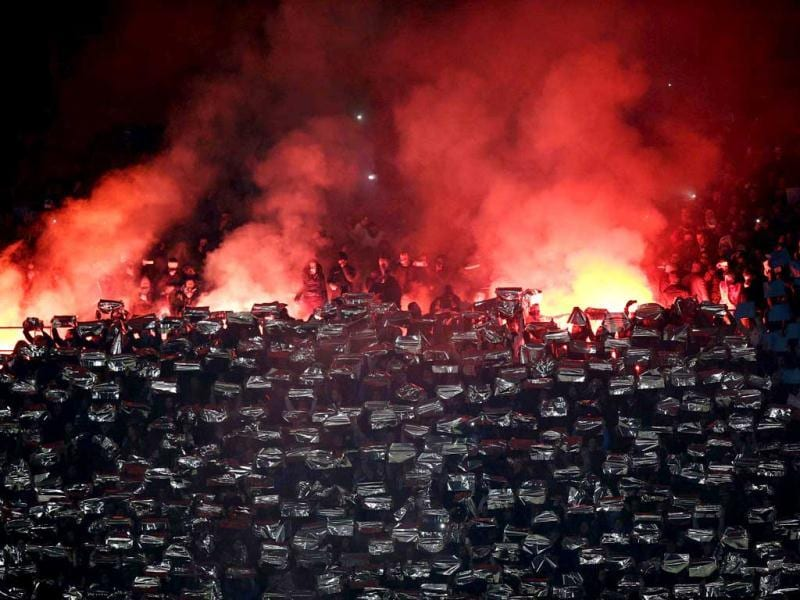 Napoli's supporters burn flares during the Italian Serie A soccer match against Juventus at the San Paolo Stadium in Naples. Reuters photo