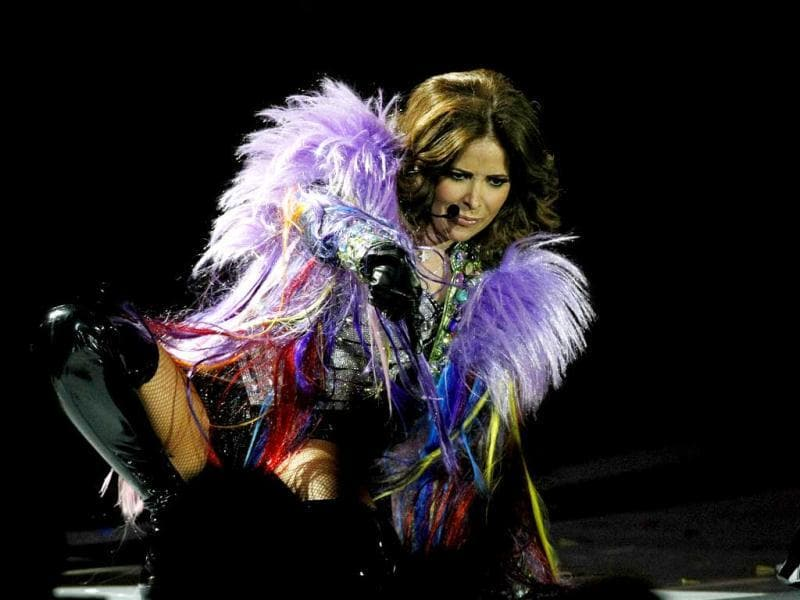 Mexican singer Gloria Trevi performs at the Vina del Mar International Song Festival in Vina del Mar, Chile. Believed to be one of the largest musical events in Latin America, the annual 5-day festival was inaugurated in 1960. AP Photo