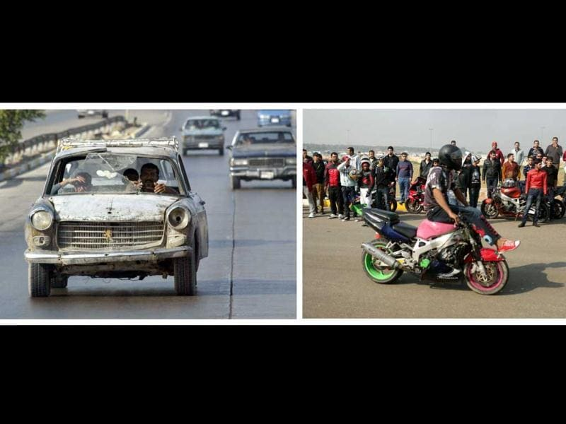 A combo made of two pictures taken in Iraq, shows on the left a man driving a wrecked car on October 24, 2003 in Baghdad and on the right a young man performing on his motorbike during a motor show on February 8, 2013 in the Baghdad's district of al-Jadriya. (AFP Photo)