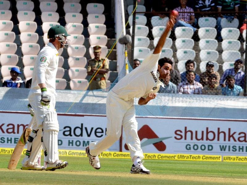 India's B Kumar in action during the 2nd cricket Test match against Australia in Hyderabad. (PTI Photo)