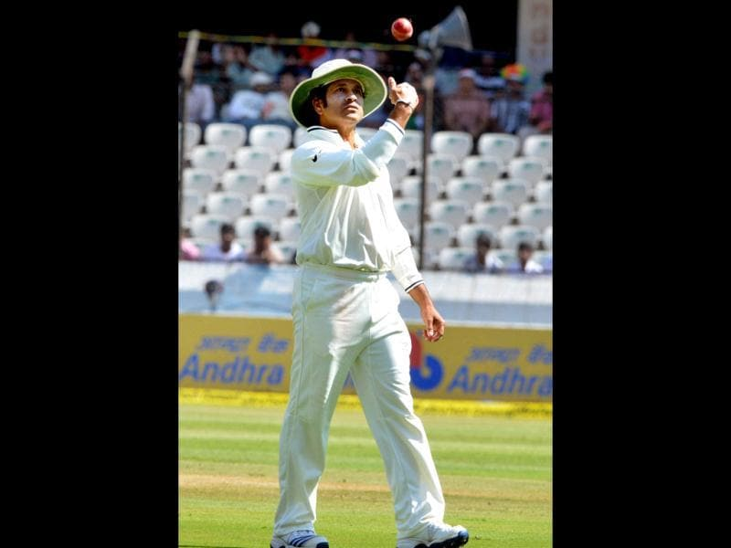 India's Sachin Tendulkar during the 2nd cricket Test match against Australia in Hyderabad. (PTI Photo)