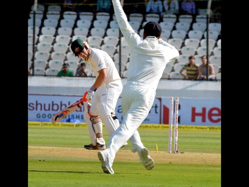 Australia's DA Warner is bowled out by India's B Kumar during the 2nd cricket Test match in Hyderabad. (PTI Photo)