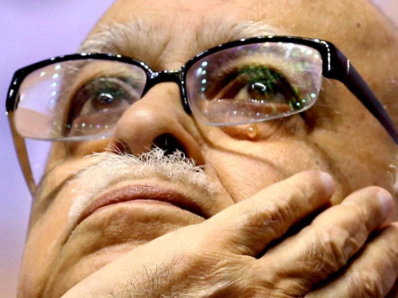 Senior BJP leader LK Advani gets emotional during National Council meeting in New Delhi. PTI photo