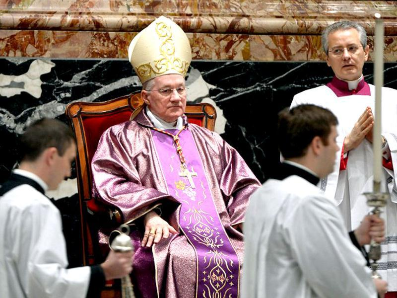 Canadian archbishop Marc Ouellet at St Peter's basilica at the Vatican. (AFP)