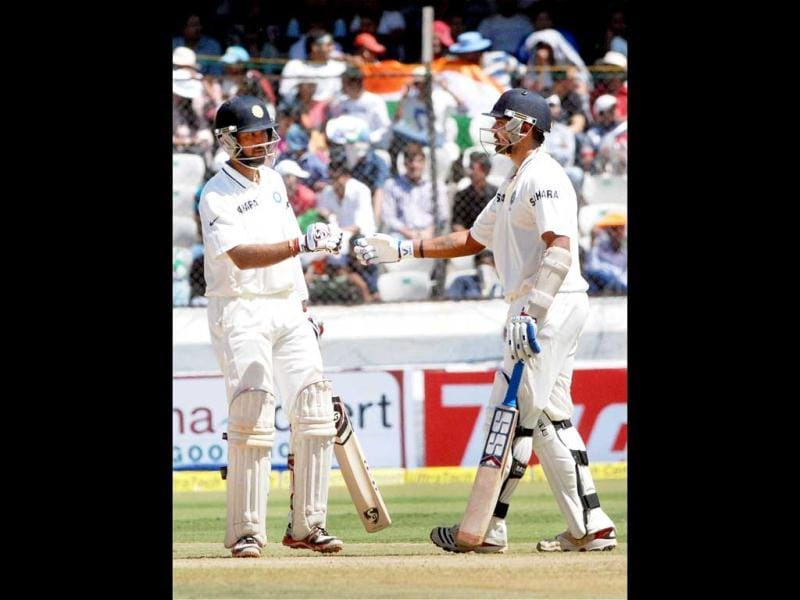 Murali Vijay and Cheteshwar Pujara during the 2nd day of the 2nd cricket Test match against Australia in Hyderabad. PTI photo