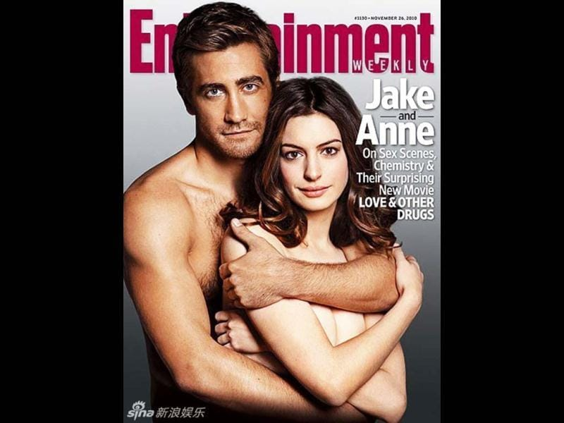 Anne Hathaway and Jake Gyllenhaal show their intimate side as they pose for Entertainment Weekly (2010).