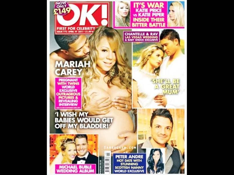 Nick Cannon and a pregnant Mariah Carey on the cover of OK! magazine. This picture of the couple is quite explicit.