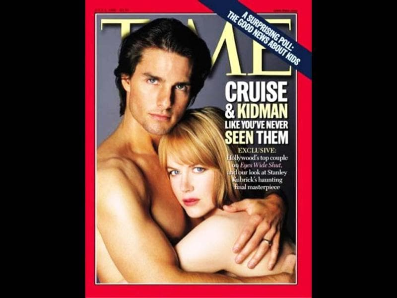 Tom Cruise and then-wife Nicole Kidman pose together on the cover of Time magazine to promote their 1999 film, Eyes Wide Shut.