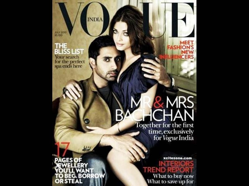 Bollywood's hottest couple Aishwarya Rai Bachchan and Abhishek Bachchan pose on the cover of Vogue magazine on the 2012 issue.