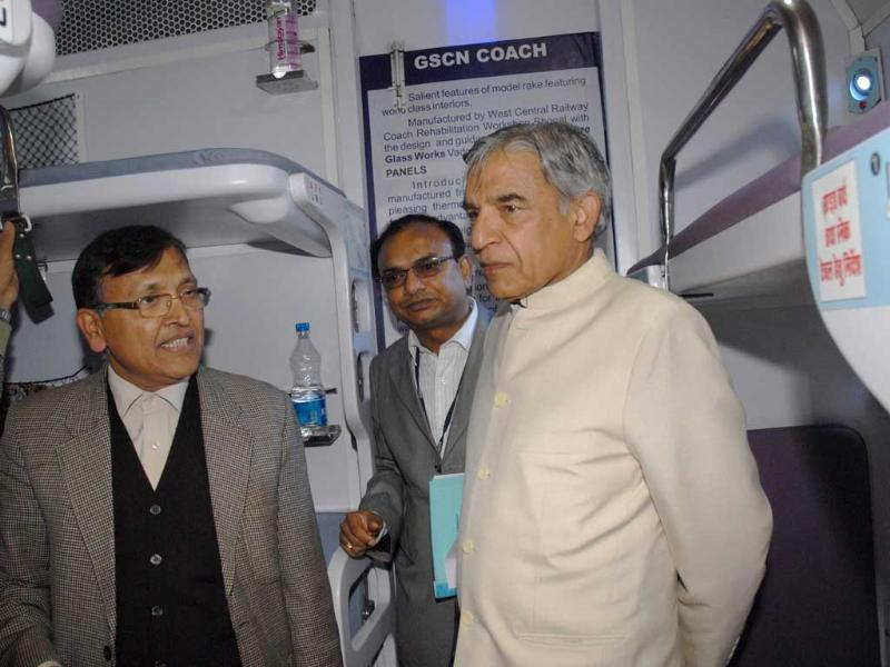 Union minister for railways Pawan Kumar Bansal inspecting an upgraded coach 'Anubhuti' during his visit to the coach care centre, at New Delhi Railway station. UNI