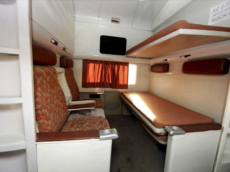An inside view of modern coach 'Anubhuti' with good ambience at a railway coach care centre, in New Delhi. The coach, to be introduced soon, will provide higher travel comforts to passengers. PTI/Vijay Verma