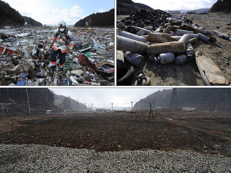 This combo shows pictures of a rescue worker walking through rubble in the tsunami hit area of Minamisanriku, Miyagi prefecture on March 18, 2011 (top) and the same area on January 14, 2012 (C) and on February 20, 2013 (bottom). March 11, 2013 will mark the second anniversary of the massive tsunami that pummelled Japan, claiming some 19,000 lives. (AFP Photo)
