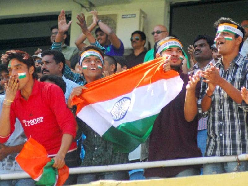 Team India's supporters celebrate during the 3rd day of the 2nd test match against Australia in Hyderabad. PTI Photo