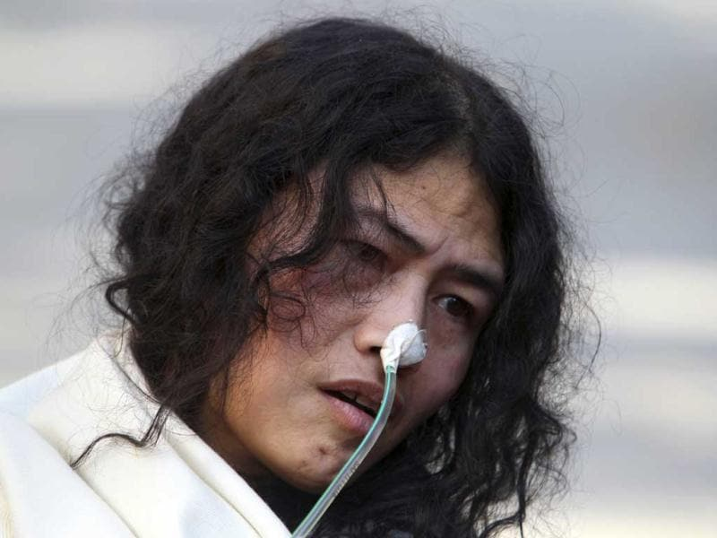 Irom Sharmila, who has been on a hunger strike for 12 years to protest anti-insurgency law in Manipur, speaks during a press conference, in New Delhi. Sharmila who has been force fed through a tube by authorities has been charged with attempted suicide in a case likely to bring major attention to her quiet protest in Manipur against the Armed Forces Special Powers Act. AP Photo