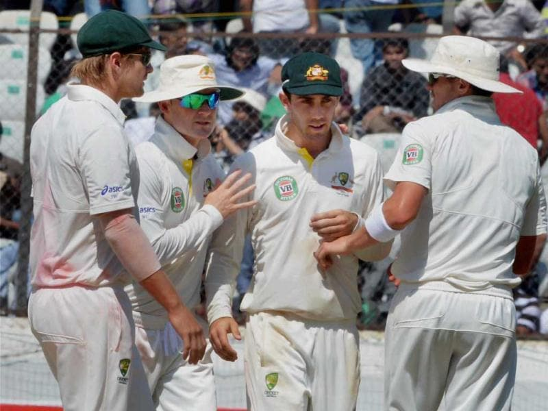 Australian players celebrate a wicket during the 3rd day of the 2nd cricket Test match against India in Hyderabad. PTI Photo