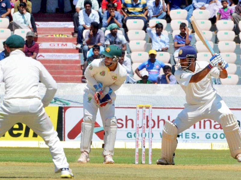 India's MS Dhoni in action during the 3rd day of the 2nd cricket Test match against Australia in Hyderabad. PTI Photo