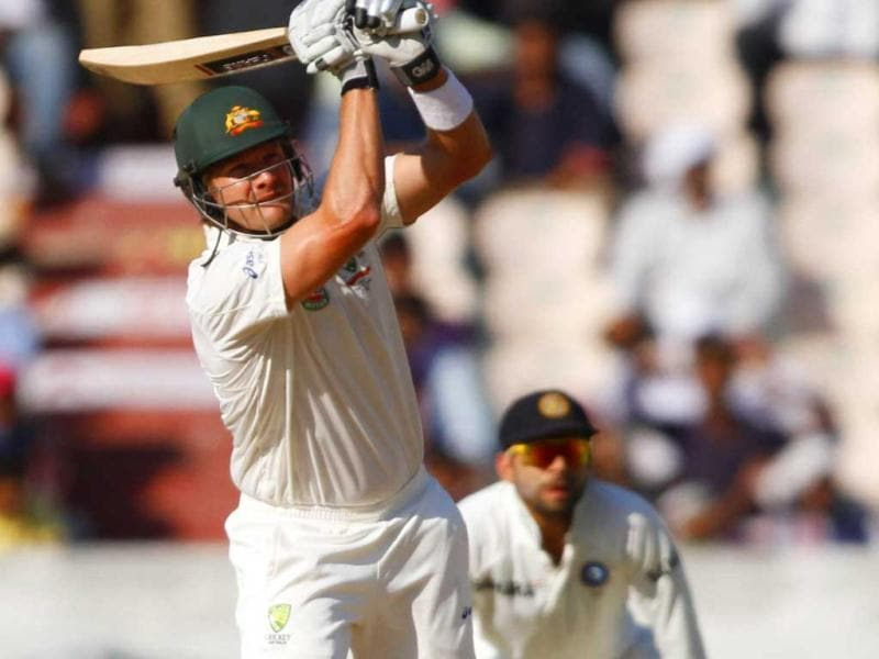 Australia's captain M Clarke is in action against India during 3rd day's play of 2nd Test match at Rajiv Gandhi International Stadium in Hyderabad. HT Photo/Subhendu Ghosh