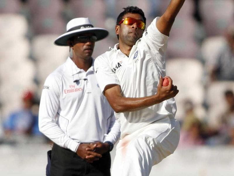 R Ashwin of India is in action against Australia during 3rd day's play of 2nd Test match at Rajiv Gandhi International Stadium in Hyderabad. HT Photo/Subhendu Ghosh