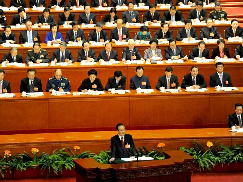 Chinese premier Wen Jiabao delivers his final report at the opening session of the Chinese National People's Congress (NPC) at the Great Hall of the People in Beijing. AFP/Goh Chai Hin