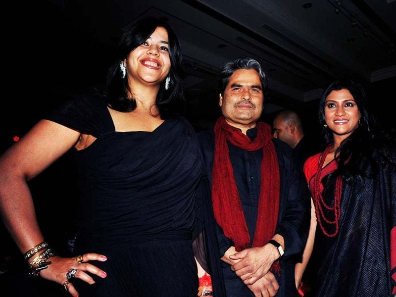 Actors Konkona Sen Sharma (R) and director Vishal Bharatwaj (C) at the launch of the Ekta Kapoor's (L) new TV-horror series Ek Thhi Naayaka. The launch was also a promotional event for the upcoming film Ek Thi Dayan in Mumbai on March 4, 2013. (AFP PHOTO)