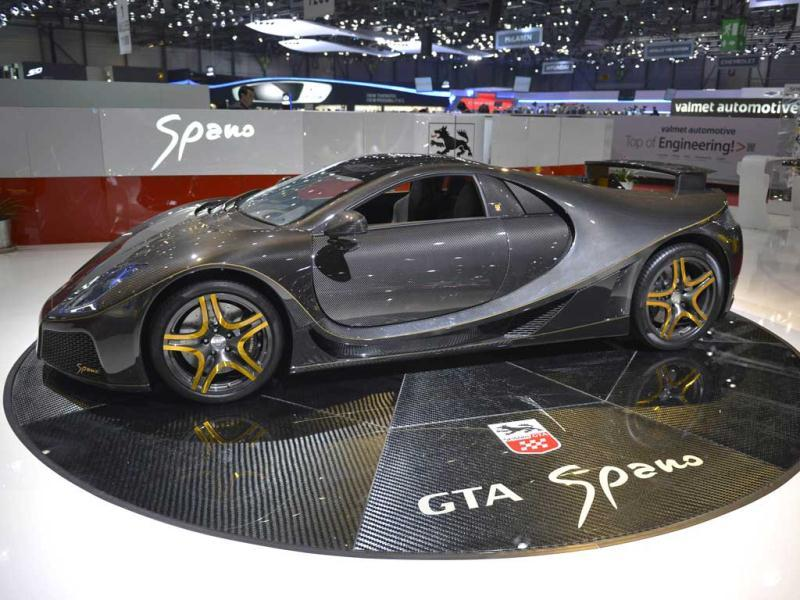 The new Spania GTA Spano is displayed as World premiere on the Spanian carmaker's booth at the Geneva International Motor Show which opens under a dark cloud, with no sign of a speedy rebound in sight for the troubled European market. AFP photo