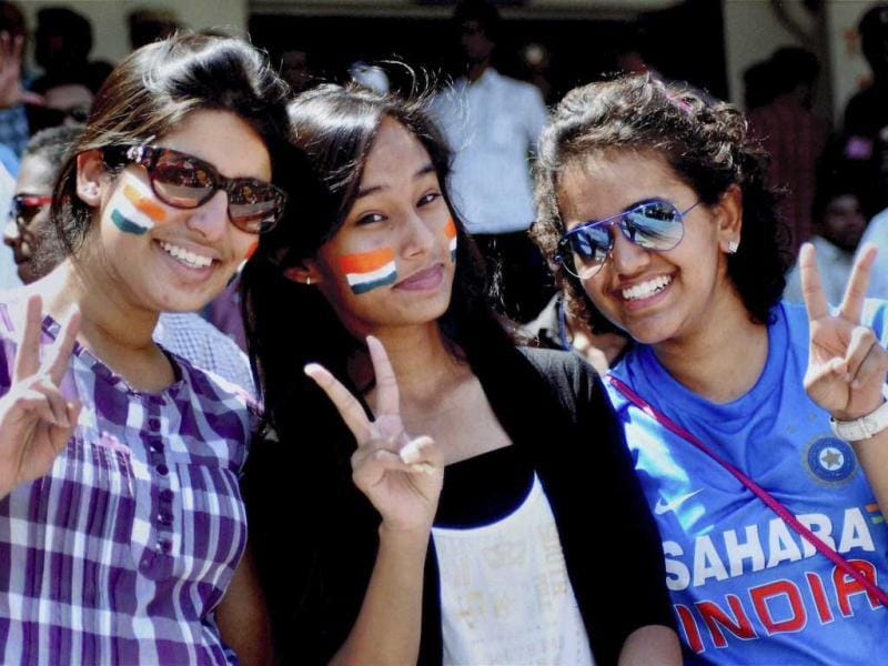 Indian supporters celebrate India's win over Australia in the second Test match in Hyderabad. PTI Photo