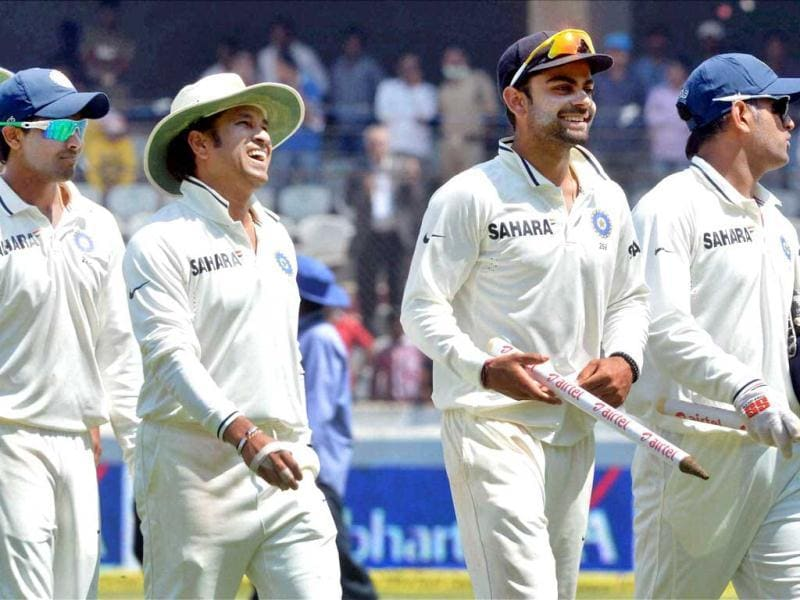 Indian players walk off the field after their win over Australia in the second Test match in Hyderabad. PTI Photo