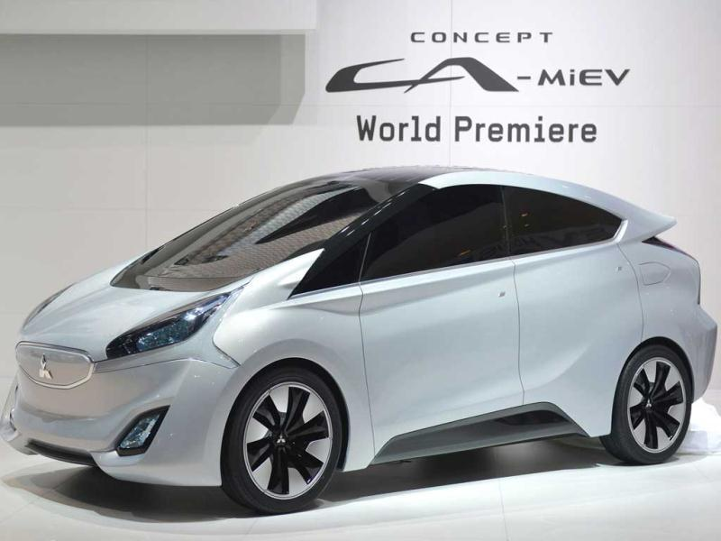 The new Mitsubishi Concept CA-MiEV Diesel Hybrid is displayed as World premiere at the Japonese carmaker's booth on the press day of the Geneva car Show. AFP photo