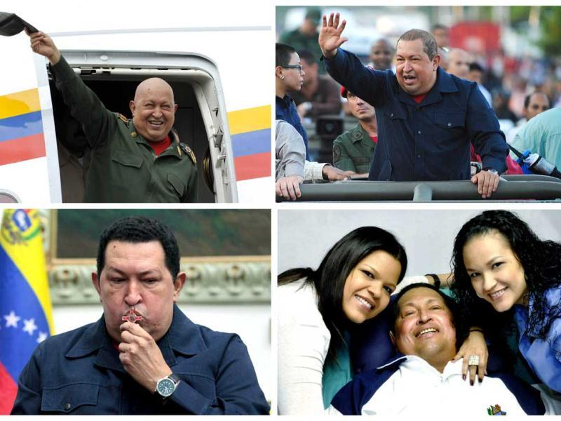 This combo shows Venezuelan President Hugo Chavez during different stages of his fight with cancer. President Hugo Chavez passed away on March 5, 2013 in Caracas. (AFP)