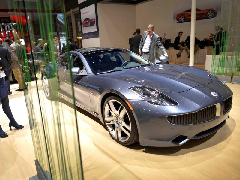 A Fisker Karma luxurious electric car is seen the US car maker's booth during the 83rd Geneva Motor Show. (AFP Photo)