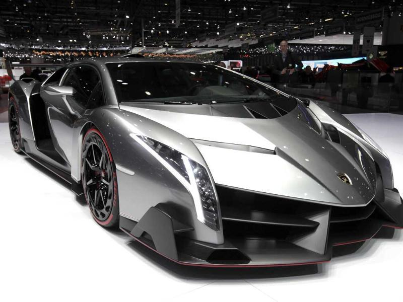 The Veneno car is pictured on the Lamborghini booth during the second media day of the 83rd Geneva Car Show at the Palexpo Arena in Geneva. (Reuters)