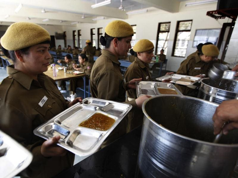 Female Delhi Police trainee constables at the PTC's mess. They receive Rs. 66 as their daily food allowance. (HT Photo/ Raj K Raj)