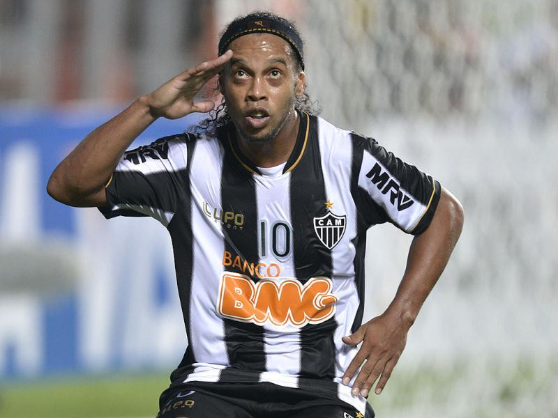 Brazil's Atletico Mineiro's Ronaldinho celebrates after scoring against Bolivia's The Strongest during a Copa Libertadores soccer match in Belo Horizonte, Brazil. (AP)