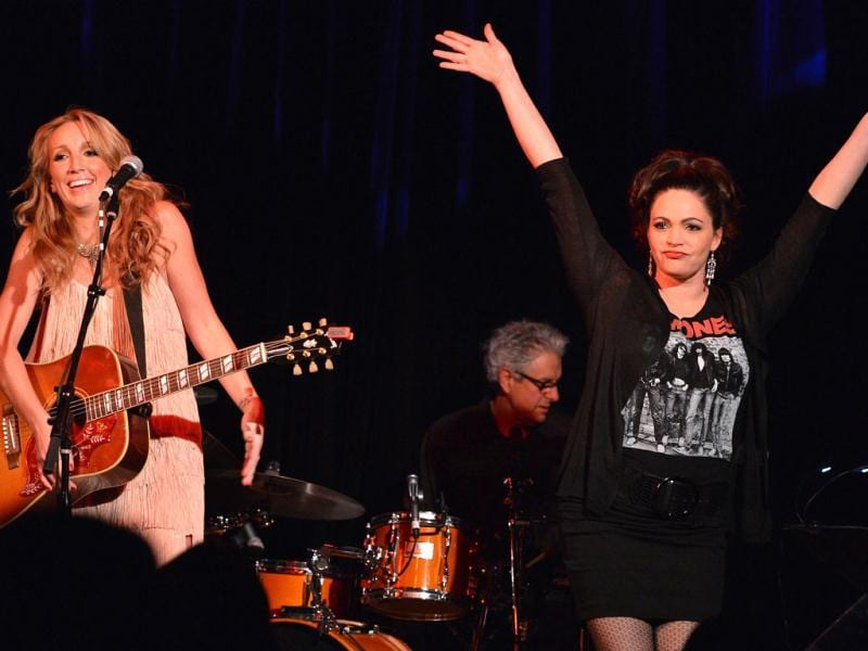 Ashley Monroe is joined by her Pistol Annies band mate, Angaleena Presley during the Ashley Monroe Album Release Party for